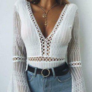 Tiger Mist Alaska Crochet-Lace Bodysuit